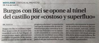 Noticia en Diario de burgos sobre la oposición de BCB al túnel del Castillo