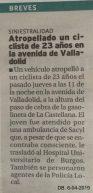Breve noticia en Diario de Burgos sobre el atropello. NO menciona la fuga del automóvil