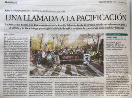 Noticia en diario de Burgos 12 de abril de 2019. Una llamada a la pacificación