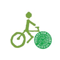 Logo BCB con logo Fridays for future Burgos en rueda delantera