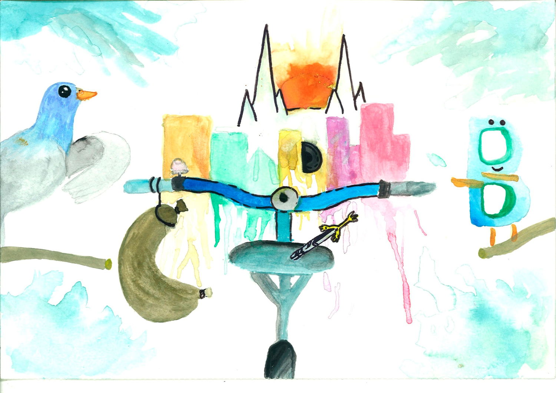 Semi abstracto. Bici, morcilla y Catedral de Burgos