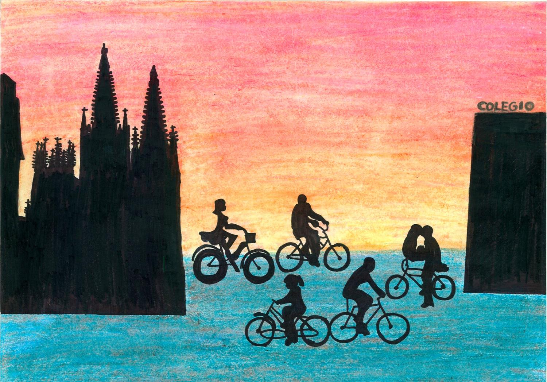 Todo con figuras negras sobre atardecer. Bicis, Catedral de Burgos y colegio