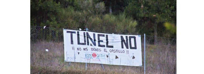 """Pancarta """"Túnel NO"""" en la Camposa, Burgos"""