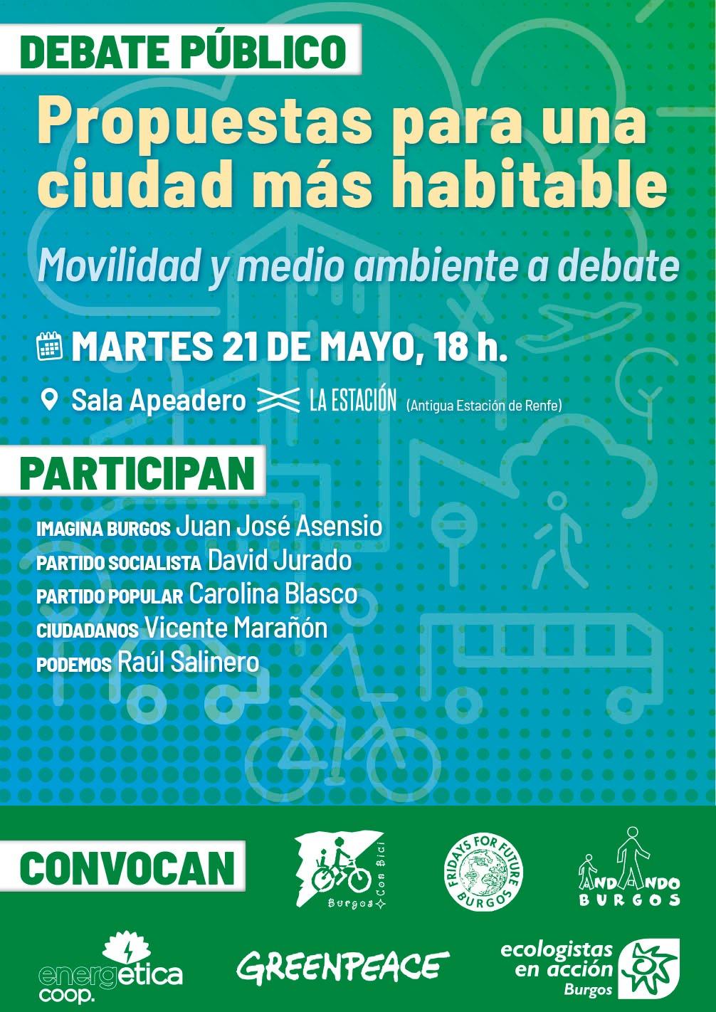 Cartel evento debate sobre temas medioambientales y de movilidad. Políticos burgaleses y representas de colectivos ciudadanos.