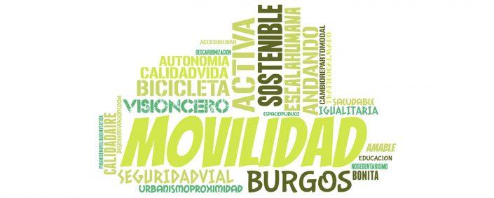 Nube de palabras relacionadas con la movilidad sostenible. Bicicleta, activa, seguridad vial, andando, calidad de vida, saludable, etc.