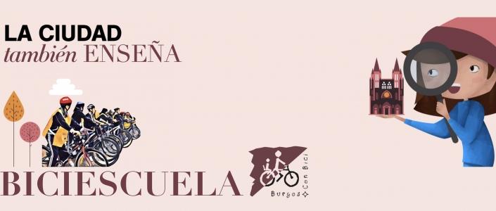 BAnner de Biciescuela de Burgos Con Bici en el programa La ciudad También enseña, del Ayuntamiento de Burgos