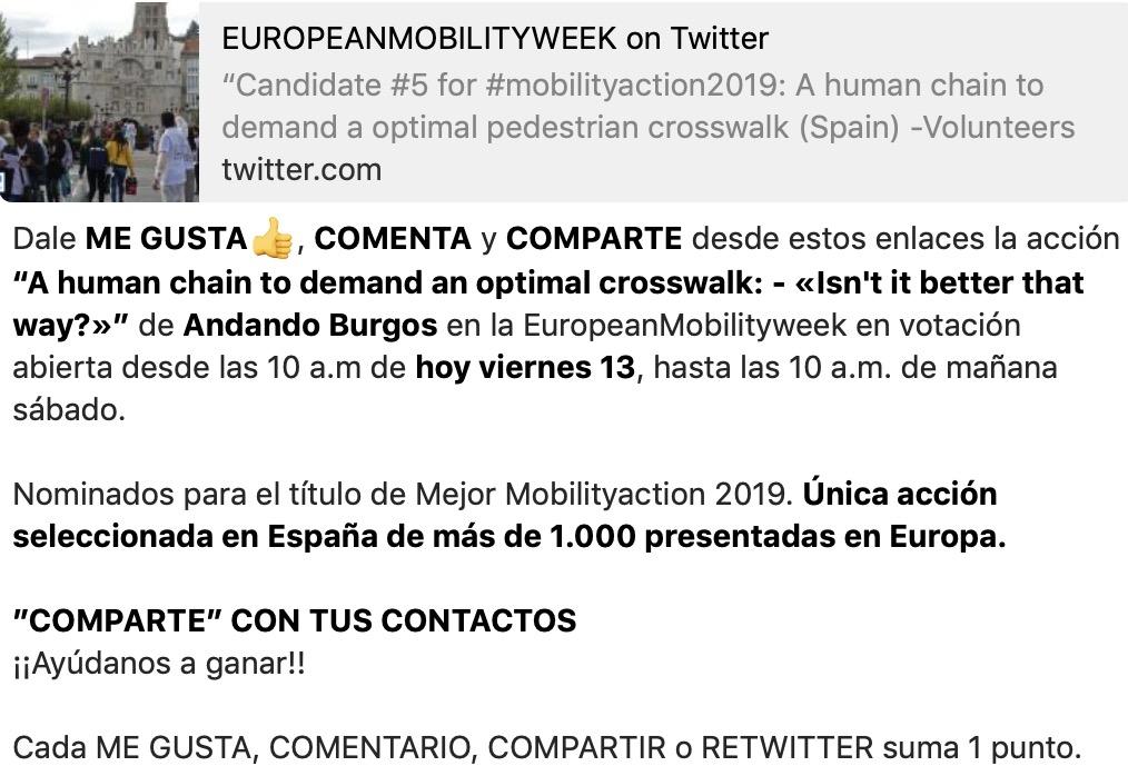 """Apoya la candidatura de Andando Burgos Comentando y dando a """"me gusta"""" en los siguientes enlaces"""""""