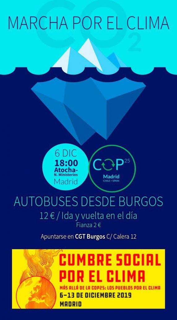 Autobús de Burgos a Madird a la Cumbre Social por el Coma. 7 de diciembre de 2019