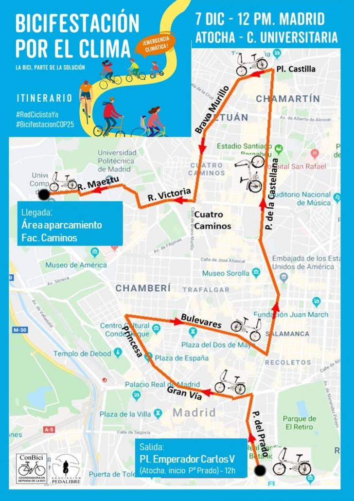 Bicifestación por el clima. Madrid 7 de diciembre de 2019 de 12:00 a 14:00. De Atocha a Ciudad Universitaria
