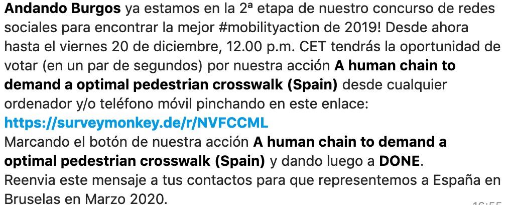 Cómo participar en la encuesta para votar a Andadno Burgos para la mejor #mobilityaction2019