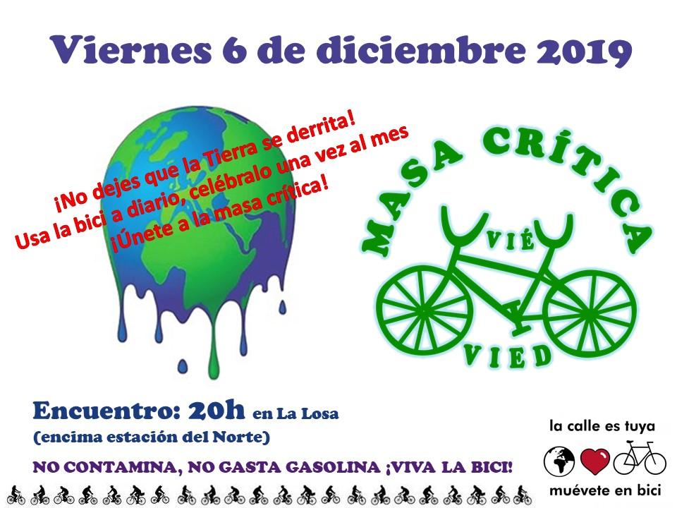 Masa crítica por el clima. Madrid 6 de diciembre de 2019 a las 20. Cerca de la estación del norte