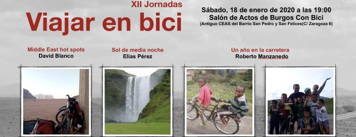 Tres charlas. Viajes por oriente mediop, islandia y vuelta al mundo. Sábado 18 de entero a alas 19:00 en el salón de actos de Burgos Con Bici