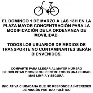 Bicicletas por la modificación de la ordenanza, por una ciudad más limpia y segura