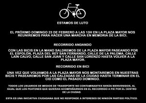 Concentración por la bici el domingo 23 de febrero de 2020 a las 13:00 en la plaza Mayor de Burgos