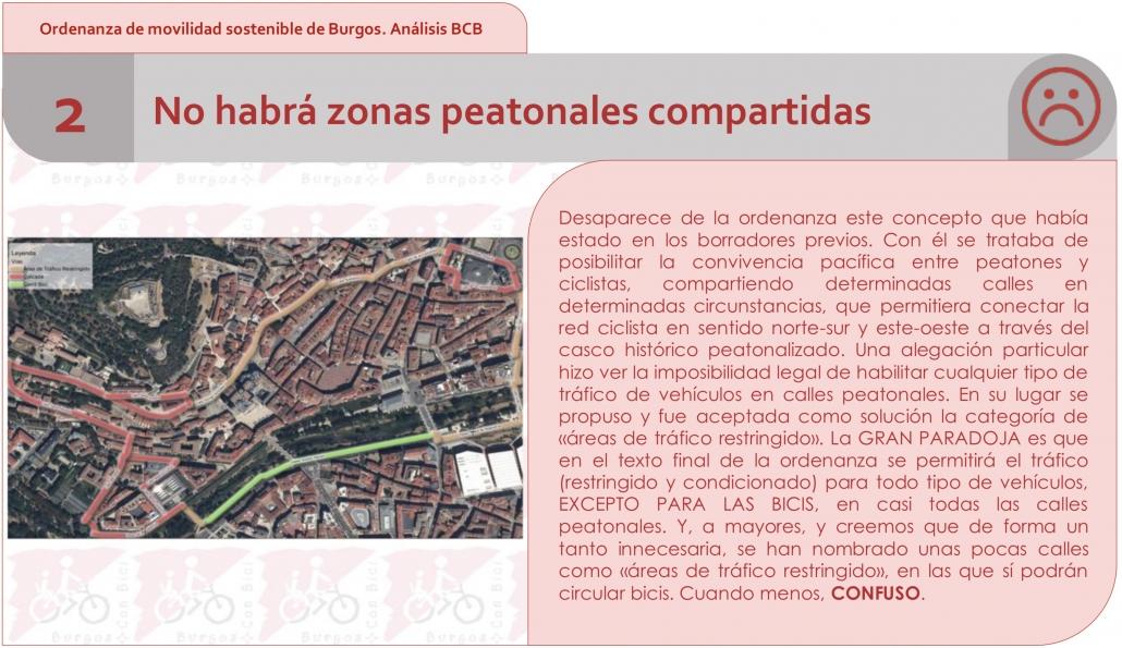 Punto 2 del análisis de la ordenanza por BCB. No habrá zonas peatonales compartidas