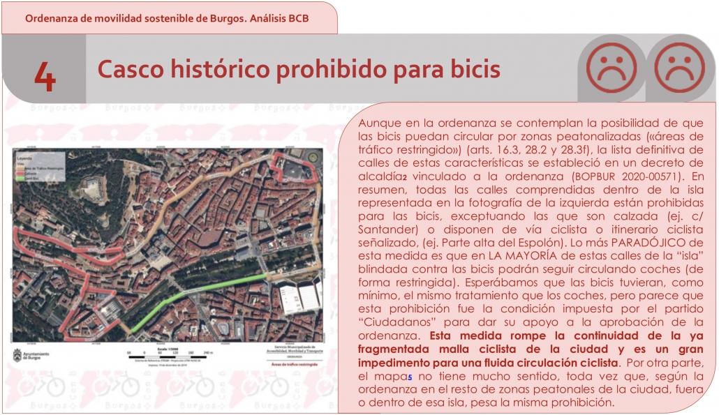 Punto 4 del análisis de la ordenanza por BCB. Casco histórico prohibido para bicis