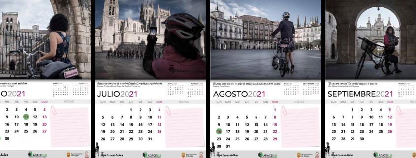 Distintas páginas del Calendario de Princessbikes a favor de ADACEBUR