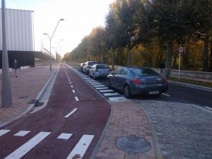 Carril bici en avenida del Arlanzón por la zona del Plantío.