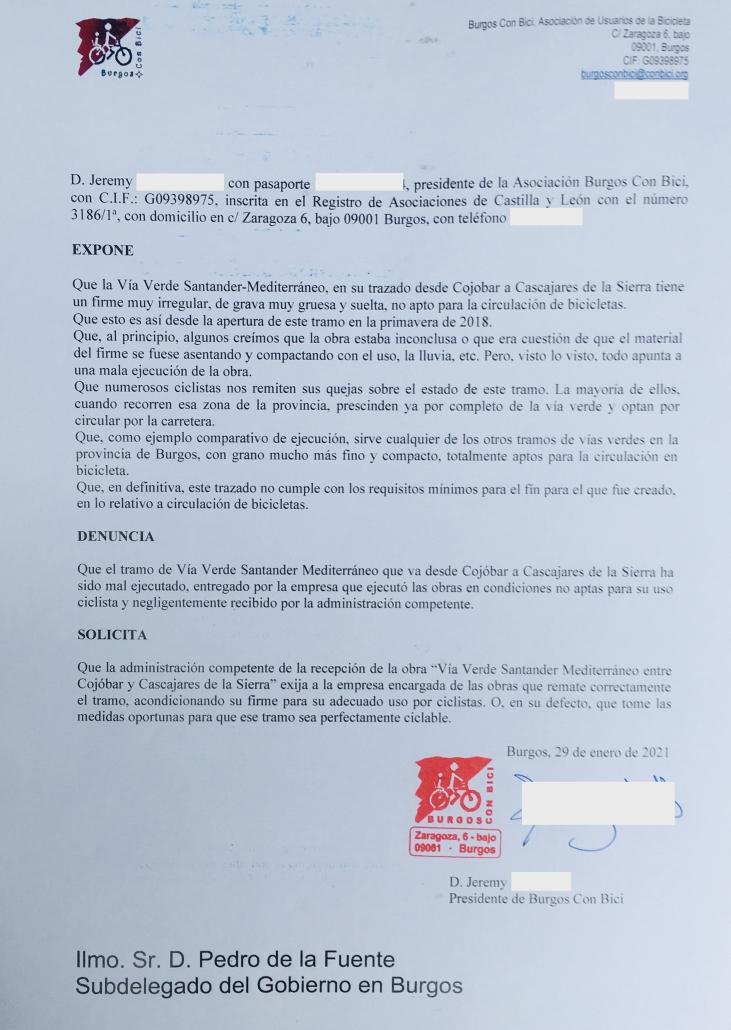 Denuncia del estado no apto para el uso de bicicletas de la Vía Verde Santander Mediterráneo entre Cojóbar y Cascajares de Bureba. Solicitud de reparación a la Subdelegación del gobierno en Burgos