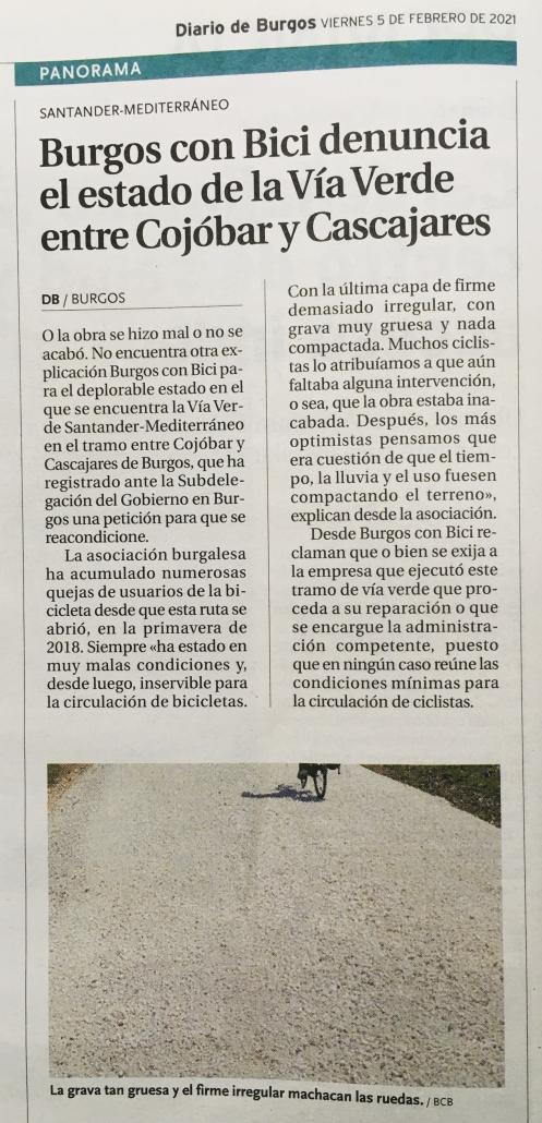 Noticia en Diario de Burgos el 5-febrero-2021