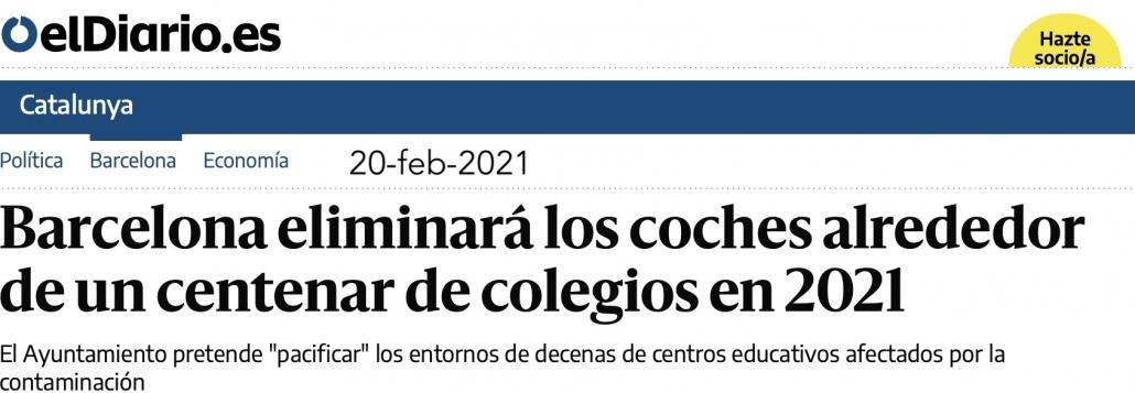 Titular de el diario .es. Barcelona eliminará los coches alrededor de un centenar de colegios en 2021