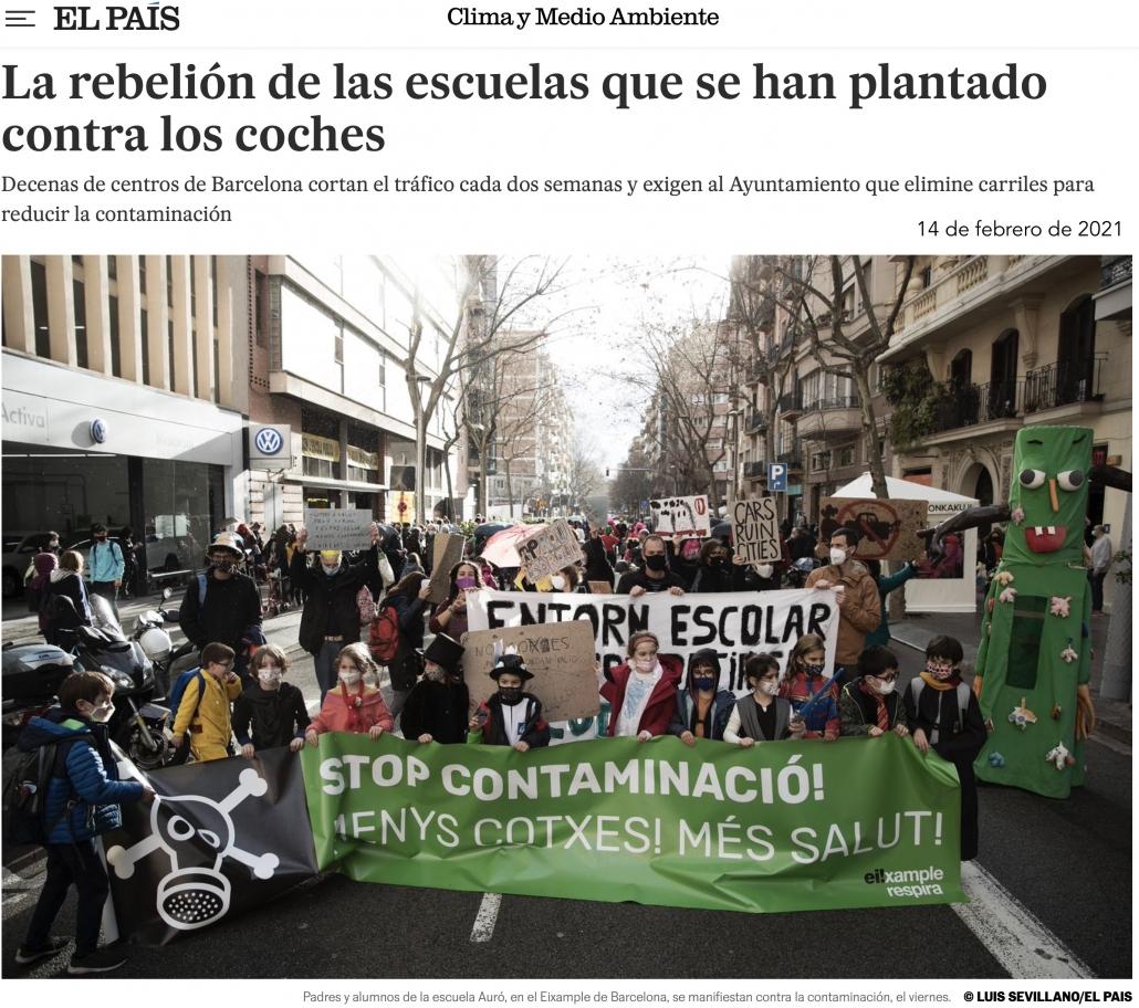 Artículo de el diario El País La rebelión de las escuelas que se han plantado contra los coches. 14 de febrero de 2021