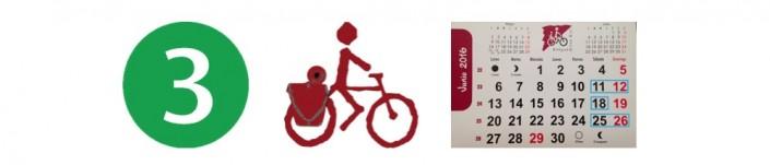 Tres, bici, calendario junio