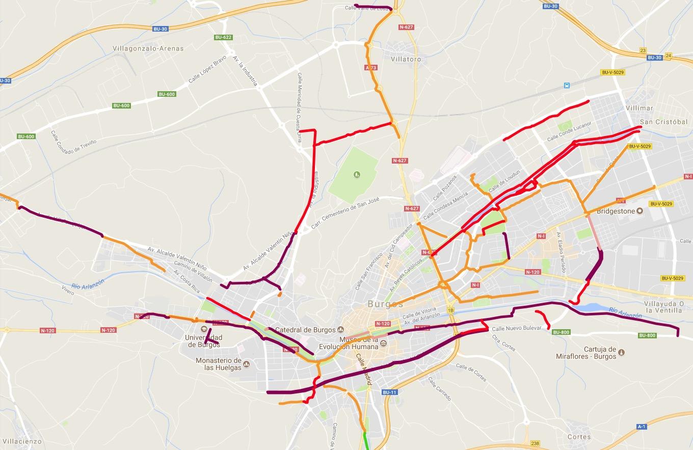 Mapa de vías ciclistas de Burgos