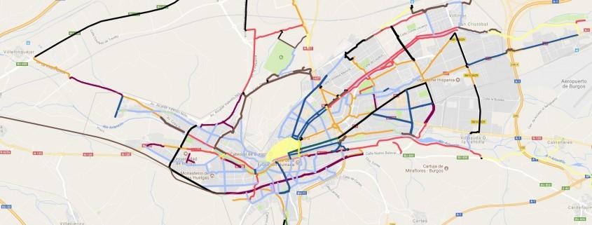 Planos de Burgos con distintos tipos de vías ciclistas