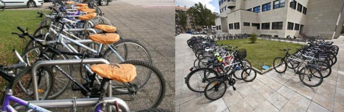 Dos imágenes de distintos aparacabicis en la ciudad
