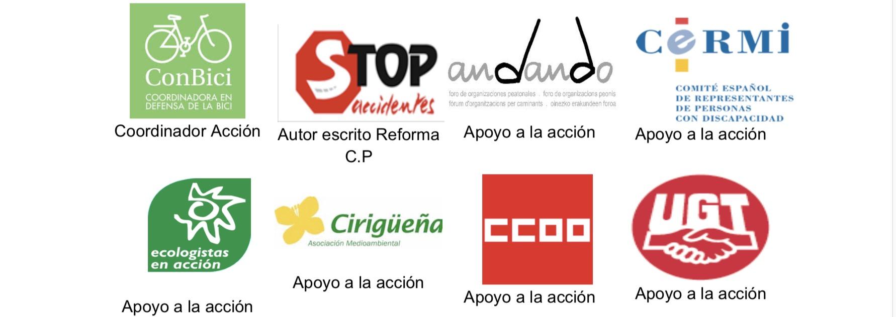 Logos de distintas asociaciones que apoyan la campaña de la reforma del Código penal en termino de seguridad vial ciclista