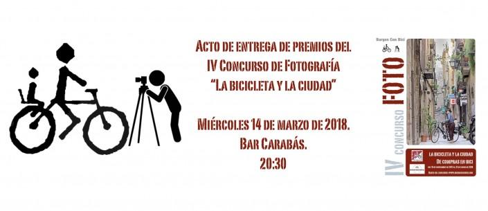 Bicicleta, fotógrafo, fecha acto de entrega, 14 marzo y cartel concurso