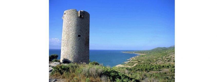 Paisaje. Primer plano torre, al fondo mar