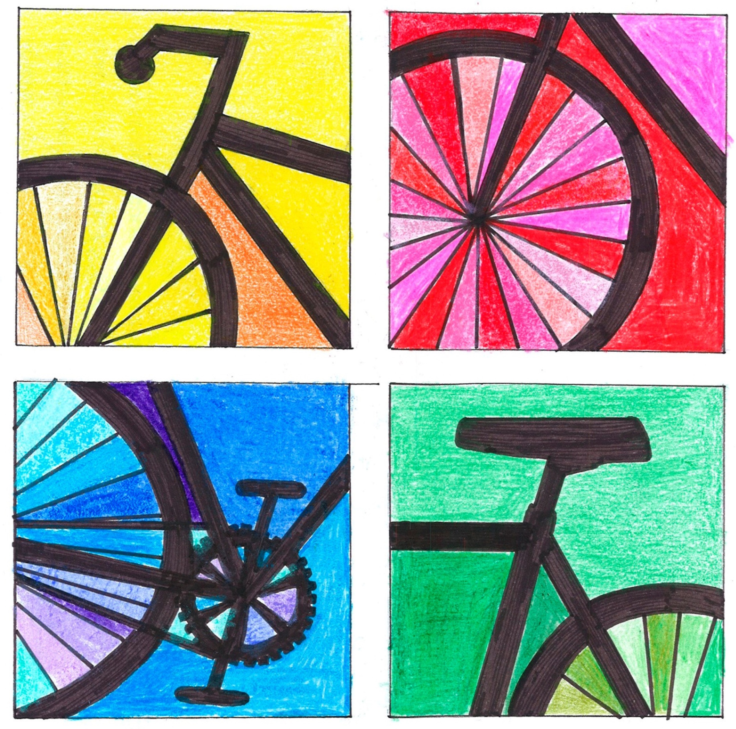 mosaico de cuatro imágenes con distintas partes de la bici desordenadas