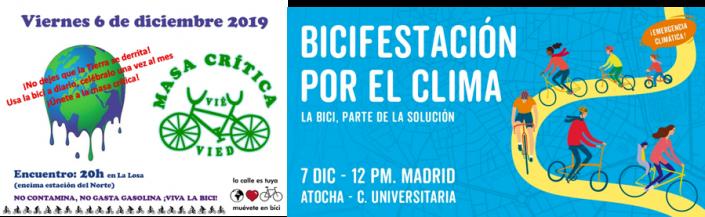 Bicifestación por el clima. Madrid 7 de diciembre de 2019 de 12:00 a 14:00. De Atocha a Ciudad Universitaria. Masa crítica por el clima. Madrid 6 de diciembre de 2019 a las 20. Cerca de la estación del norte