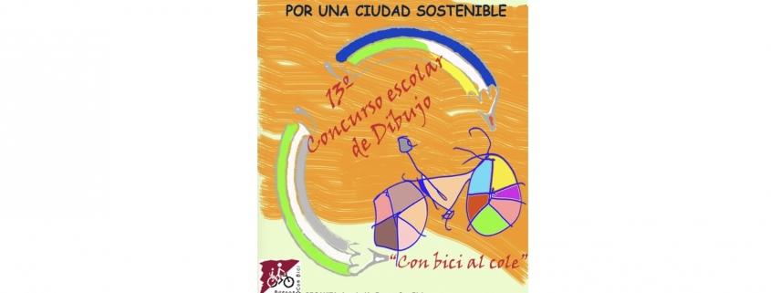 Dibujo de un niño enbici con los ruedas coloreadas. Imagen del cartel del concurso.