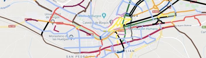 Mapa de vías ciclista existentes y propuestas por la asociación Burgos Con Bici