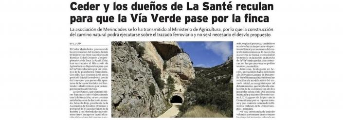 Noticia en Diario de Burgos el 14 de noviembre de 2020