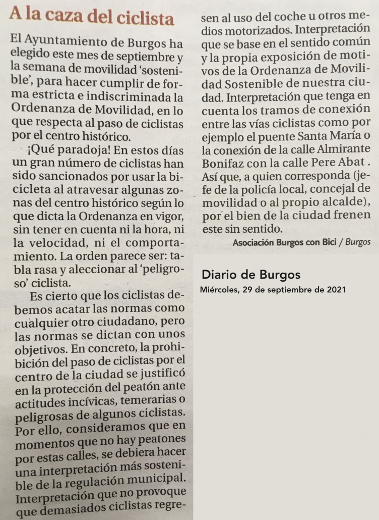 Carta al director del Diario de Burgos 20210929